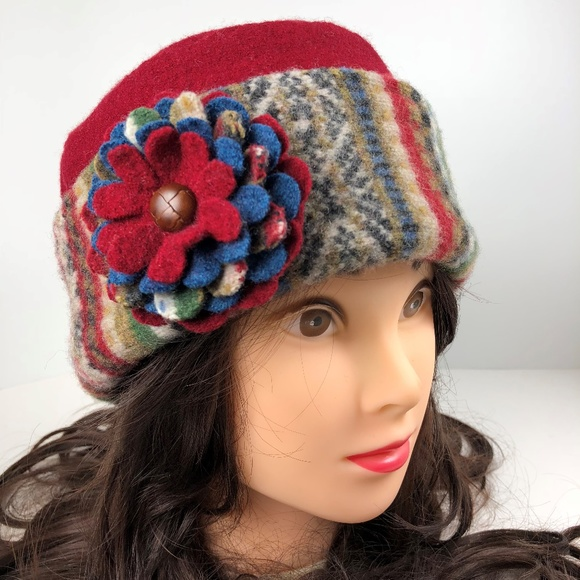 5f80f76a Handmade Accessories   Upcycled Red Sweater Hat Stripes Flower ...